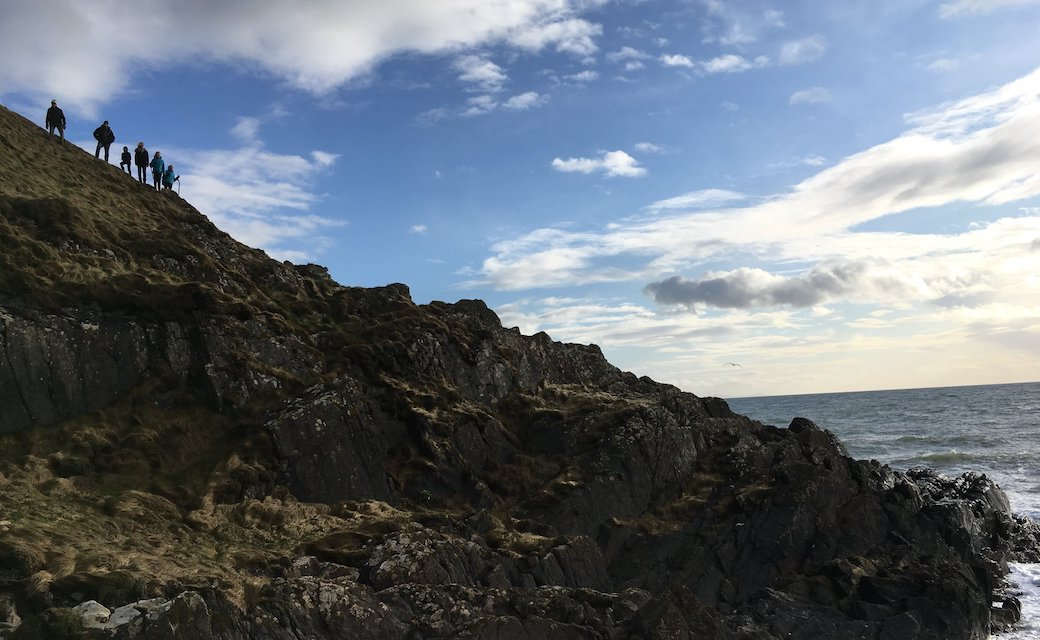 Climbing cliffs in south Scotland by the Irish Sea.