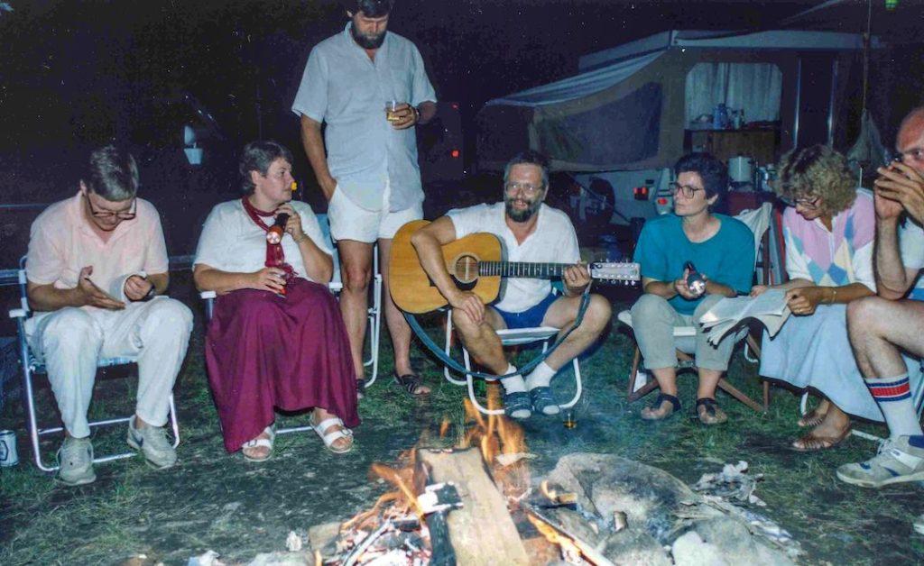 A typcial ICS campfire circle, 1986