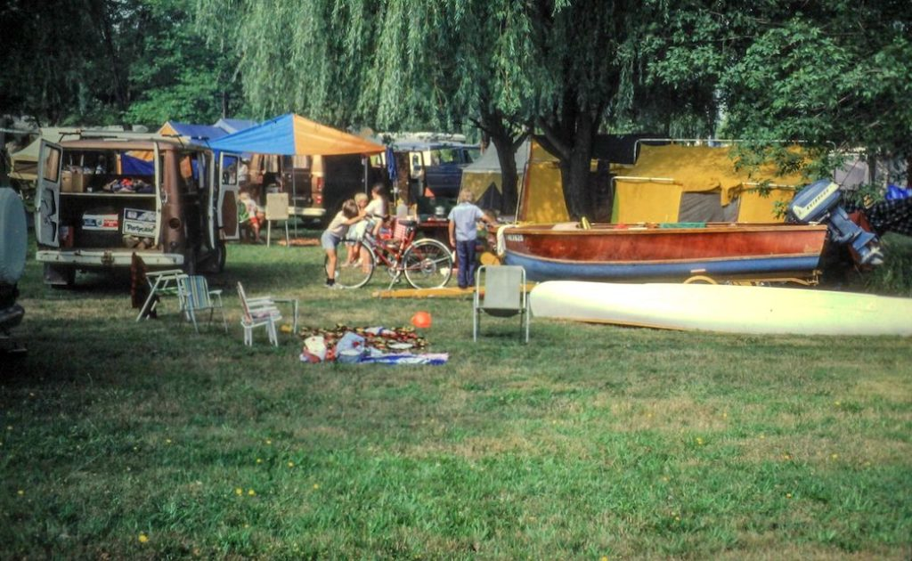 A campground full of boats and bicycles, 1979