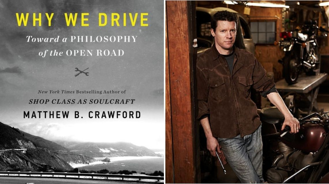 """Book title """"Why We Drive"""" and author image"""