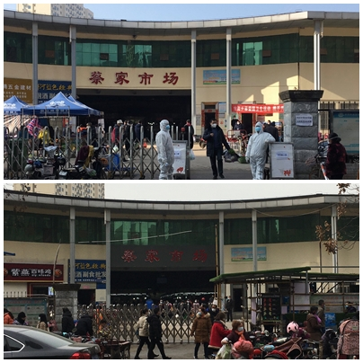 In the first image there are people with full PPE outside the buildings. In the second image people are moving freely.