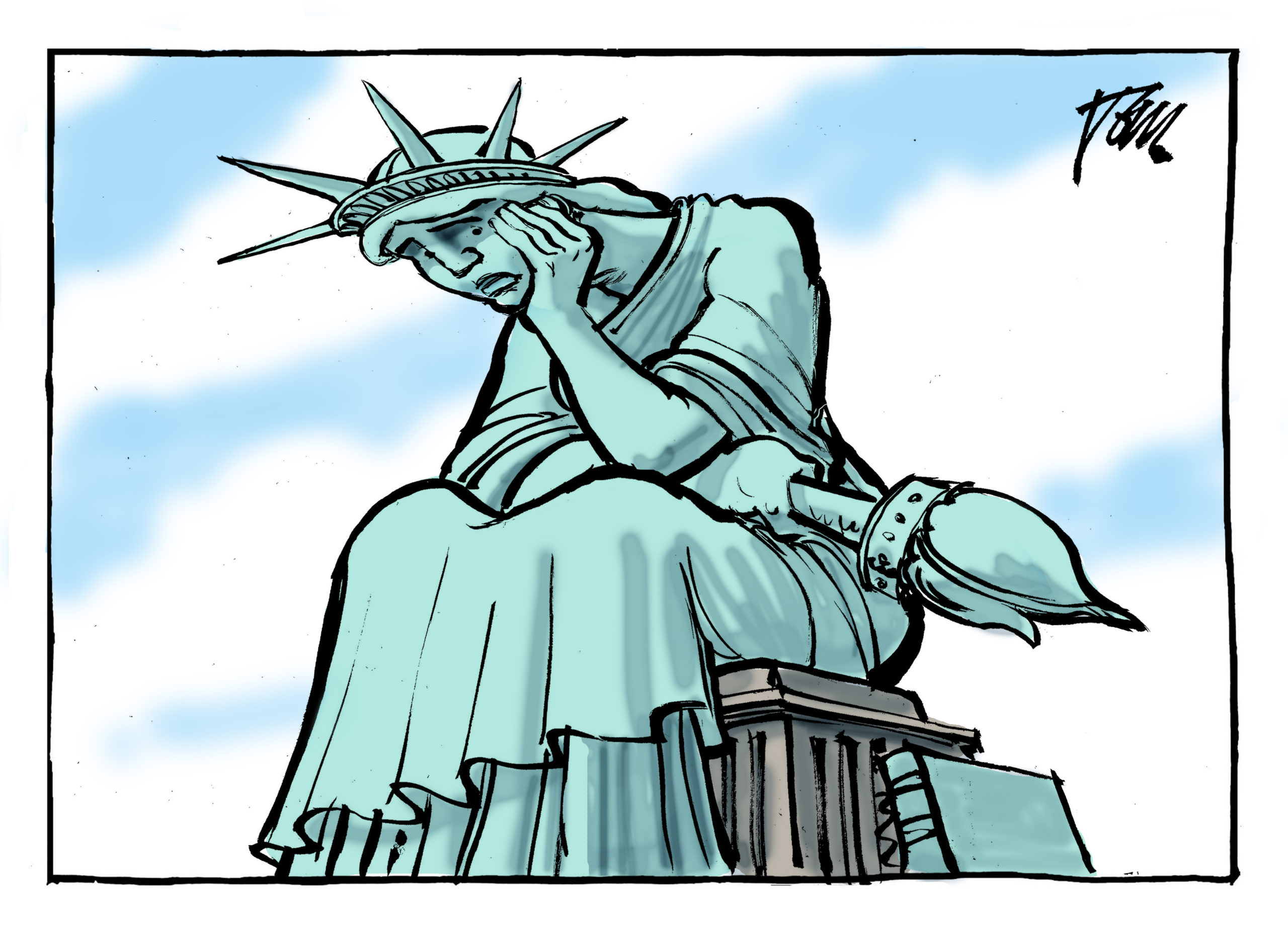 A cartoon of Lady Liberty with her head in her hand.