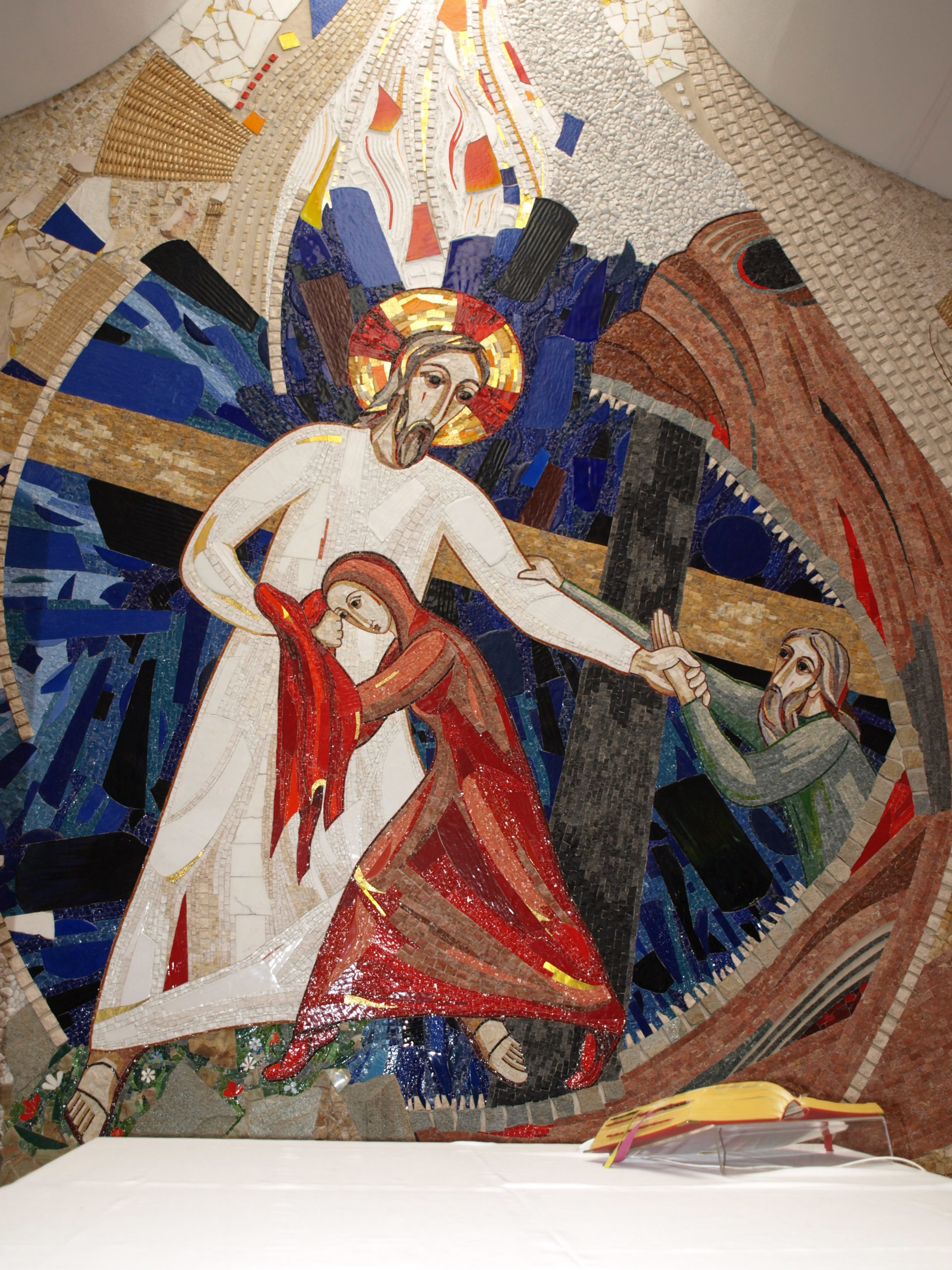 Mosaic of Christ pulling a woman and man out of hell.