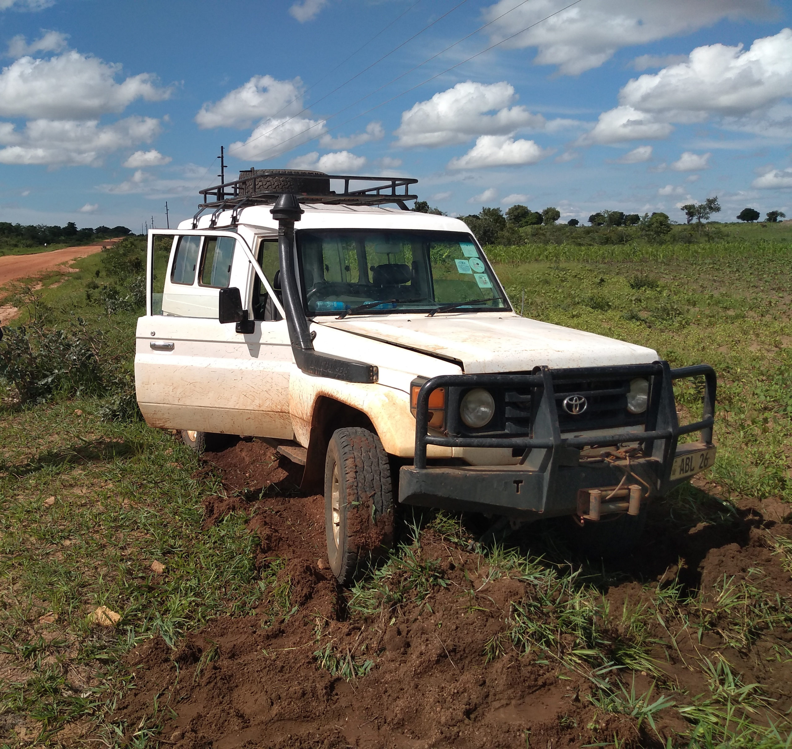 a Land Rover stuck in the mud