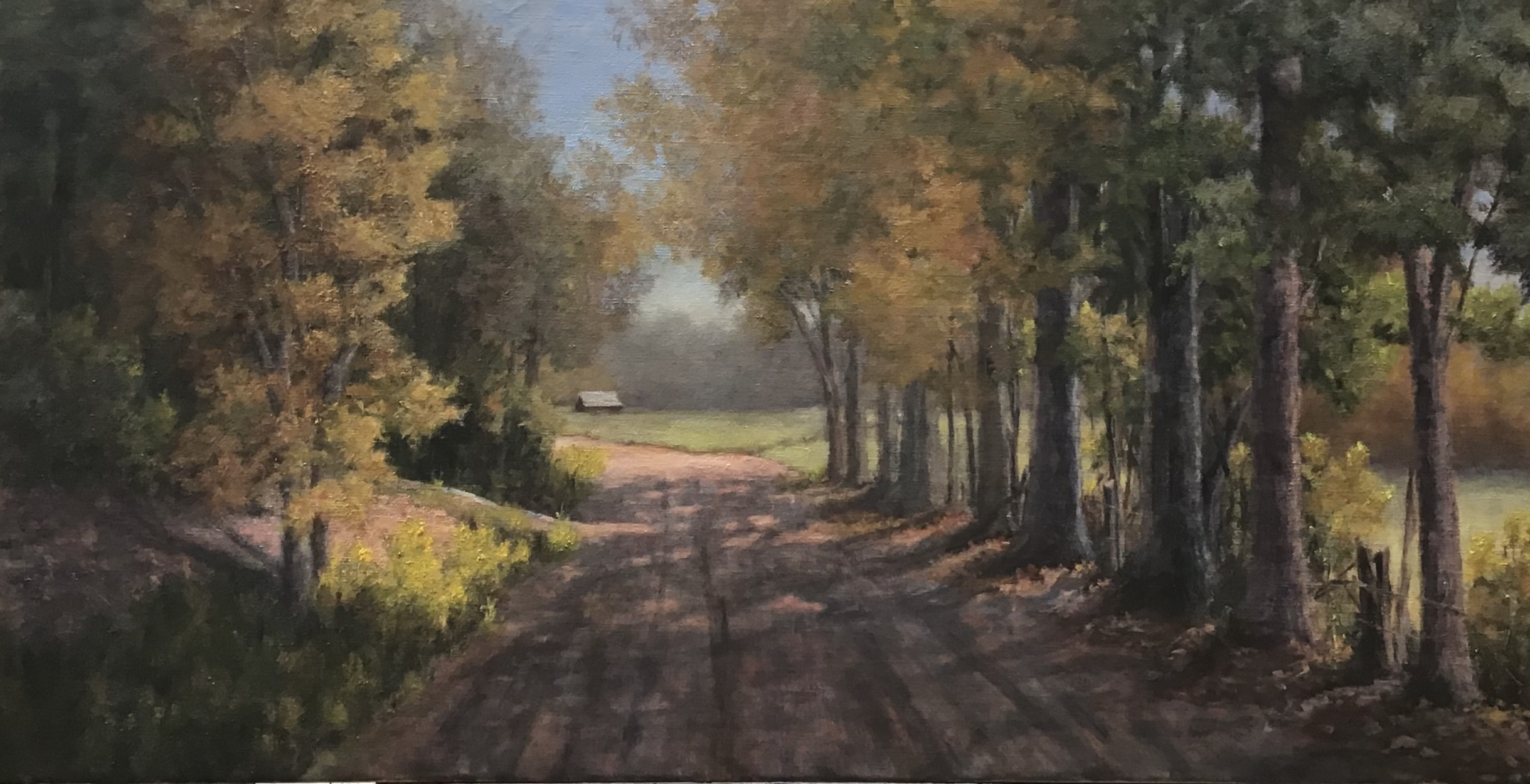 painting of trees along a dirt road