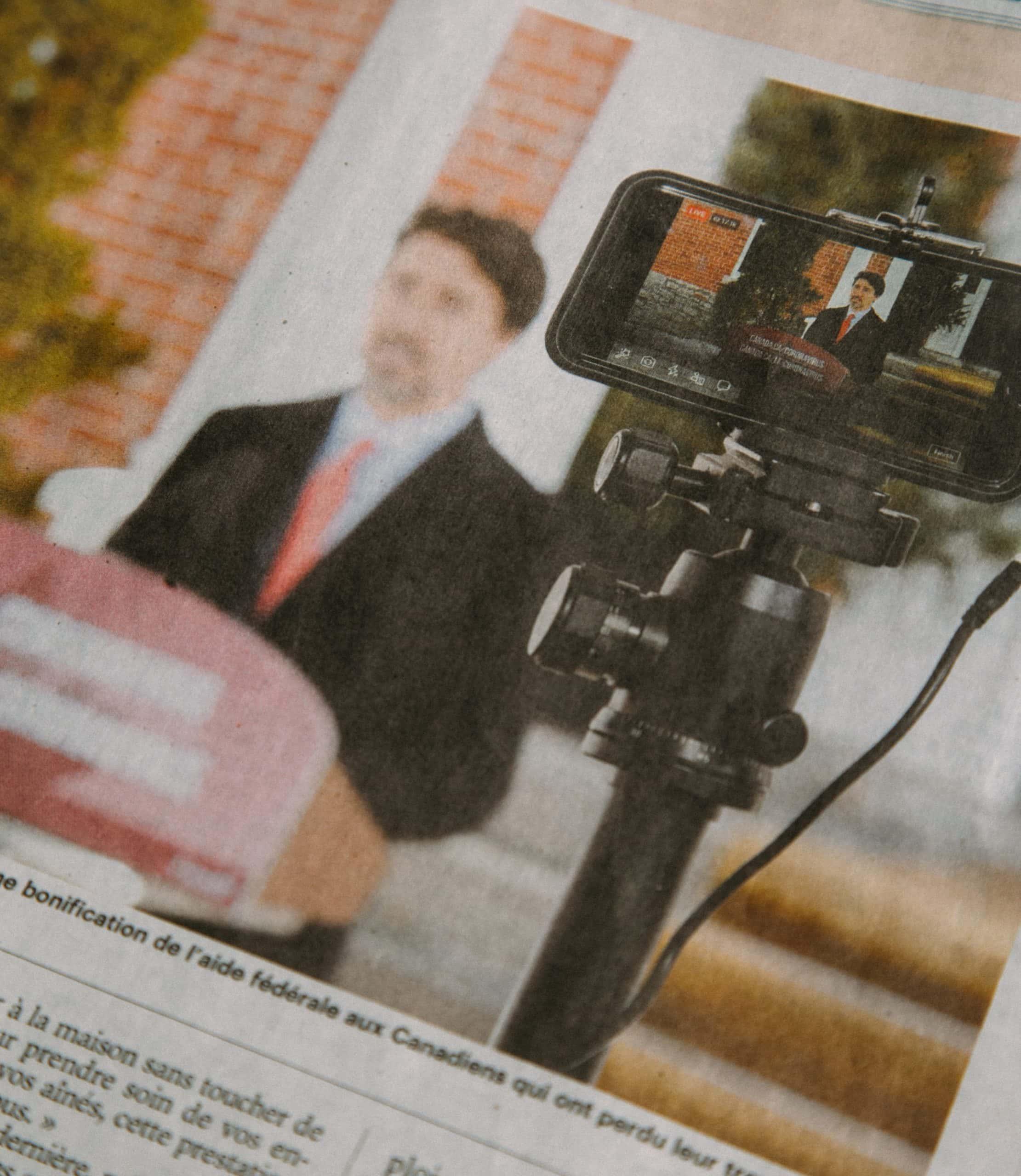 Video camera recording Trudeau