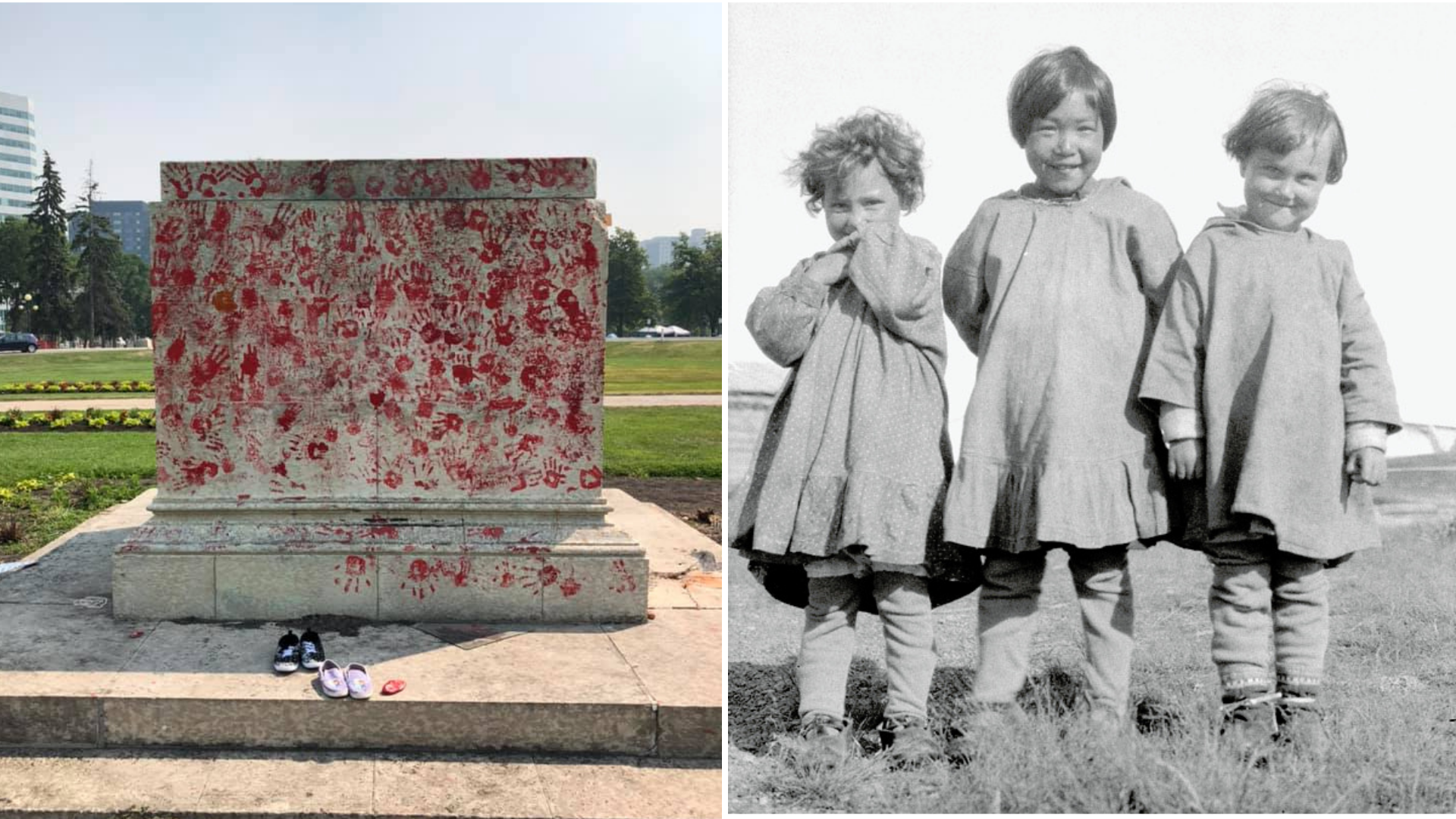 two photos, one of a cement memorial covered in red handprints and one black and white photo of three children