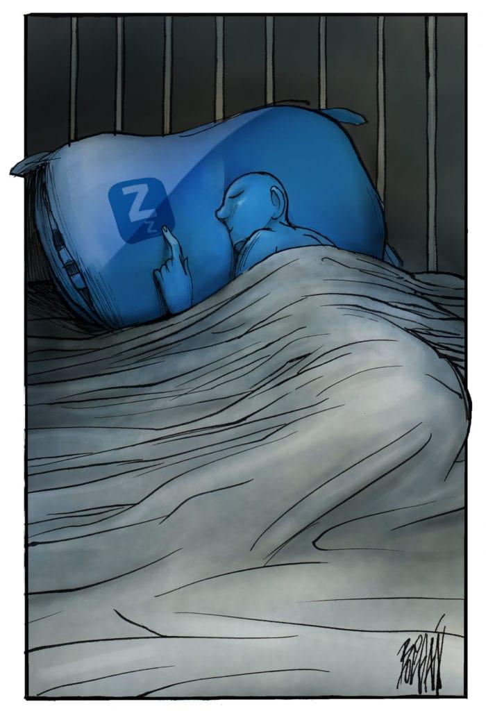 a cartoon of someone trying to sleep