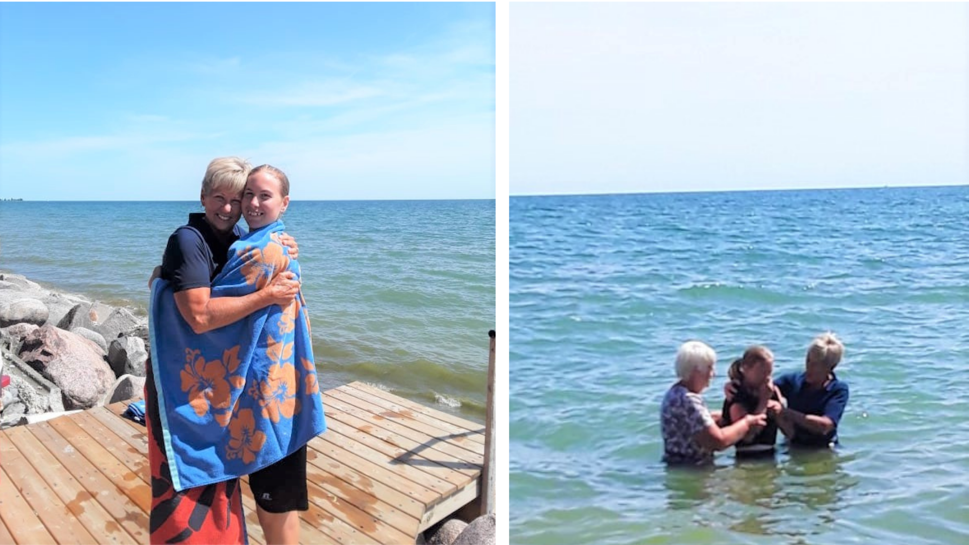 A girl being baptized outside