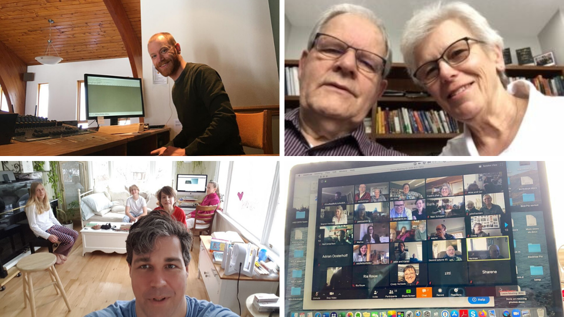 Clockwise from top: Andrew Aukema records his sermon in the sound booth of the Prince George CRC sanctuary; Ed and Gerda Adema gathered around the screen;Telkwa CRC gathering via Zoom on Easter Sunday; Geoff and Jaime McDonald and their sons worshiping in their home.