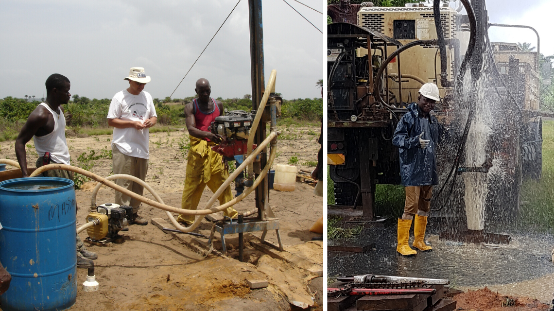 A well-drilling lesson from Jim (left).Liberian driller Elton Thomas celebrating a productive new well (right).